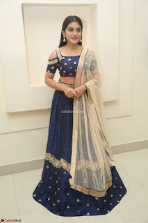 Niveda Thomas in Lovely Blue Cold Shoulder Ghagra Choli Transparent Chunni ~  Exclusive Celebrities Galleries 078