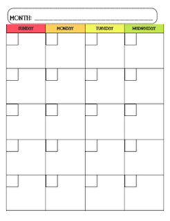 Monday through friday calendar template for teacher for Monday through saturday calendar template