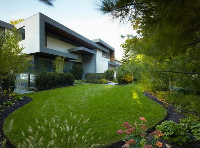 taman rumah minimalis dan saluran drainase nya