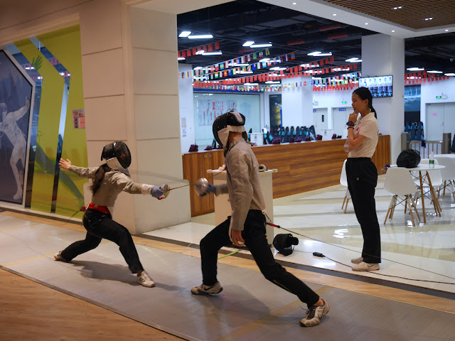 fencing match at a mall in Zhongshan