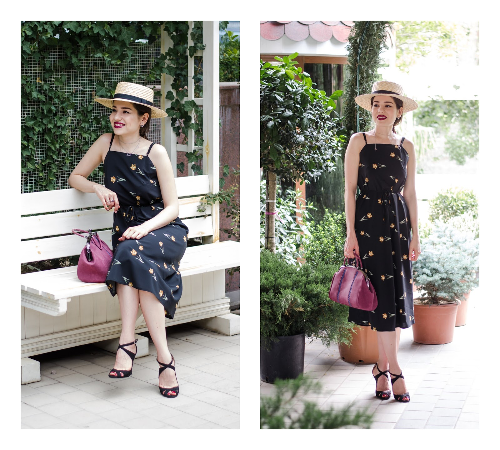 fashion blogger fashion diyorasnotes diyora beta cami dress midi dress straw hat asos heeled sandals outfit summer look 2017 lookbook street style