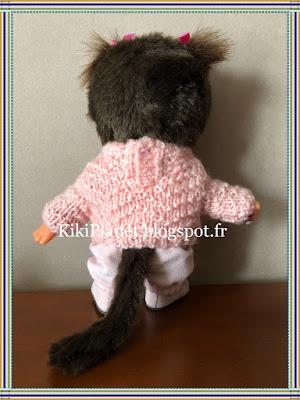 Pull à chevrons rose fait main pour Kiki ou Monchhichi handmade tricot pull vintage knitting poupée