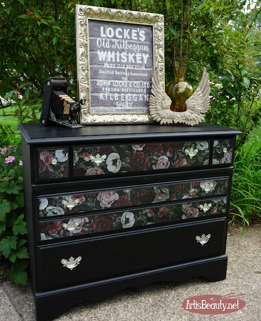 PRIMA REDISGN COLOR TRANSFER DARK ROMANCE Vintage maple dresser turned romantic vintage Floral  color transfers and general finishes lamp black milk paint