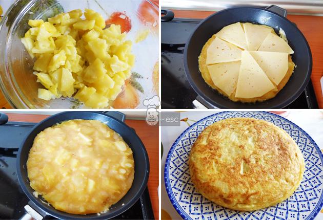 Tortilla de patatas al microondas rellena de queso