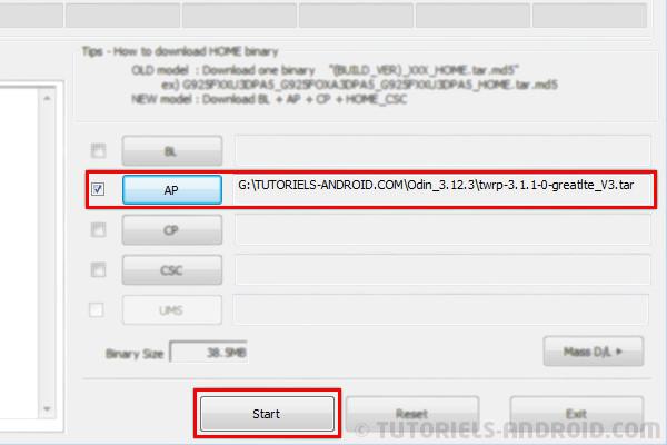 Chargement du fichier twrp-galaxy-note-8.tar.md5 dans Odin3
