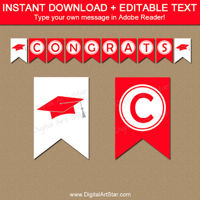 printable high school graduation banner in red and white with editable text
