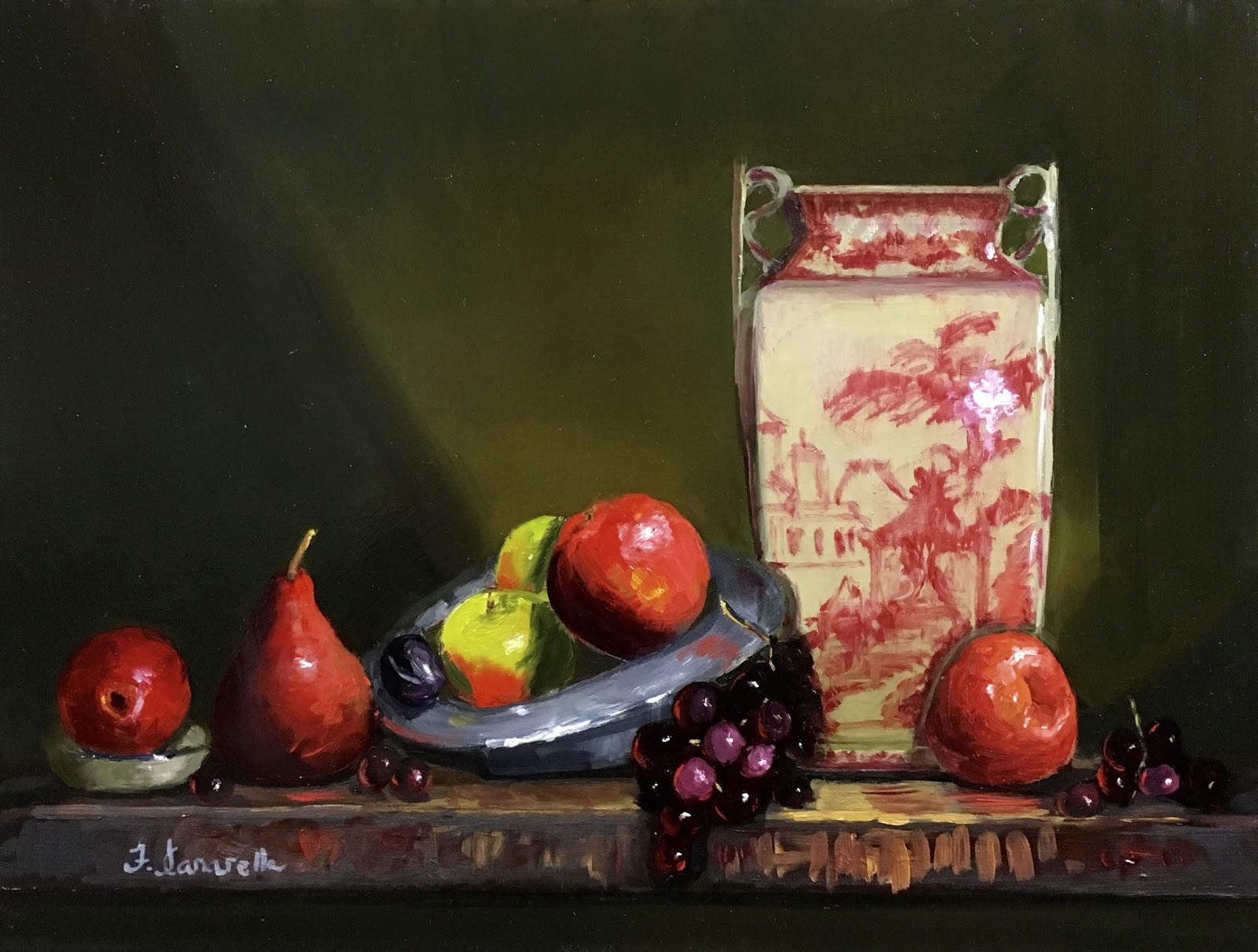 Newyorkcitypainter new still life red and white vase with fruit after five or six tries i was finally happy with the look of the vase and added in the pattern reviewsmspy