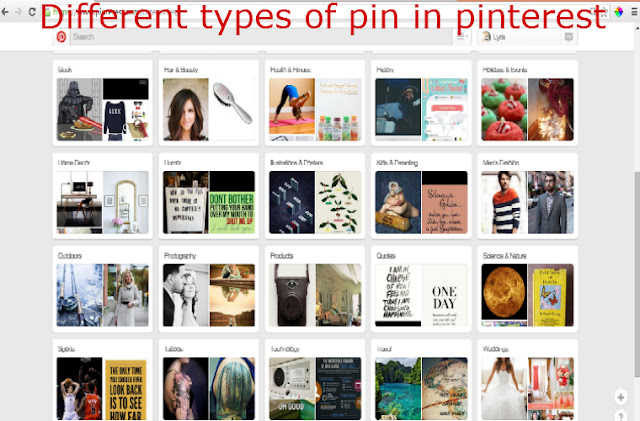 Different types of pin in pinterest