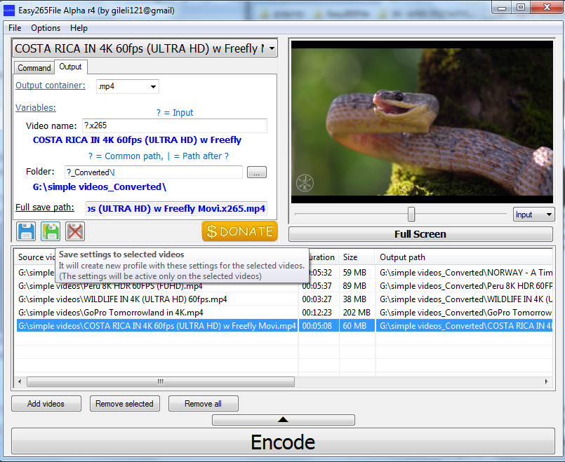 Easy265File - Preview ffmpeg command and easly convert