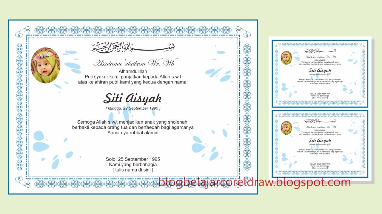 Desain Undangan Aqiqah Corel Inspirasi Pernikahan