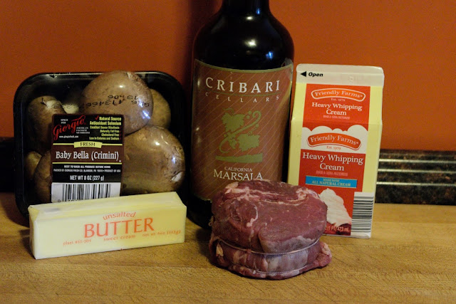 A picture of the ingredients for the steak Marsala.