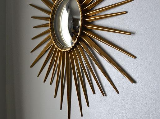 Gold Metal Wall Mirror: Mid Century Mrs: Metal Antique Gold Framed Mirror