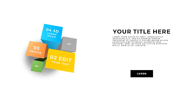 Useful 3D Cube Design Elements for PowerPoint Template with Top views
