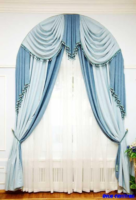 blue window curtains for arched window treatment