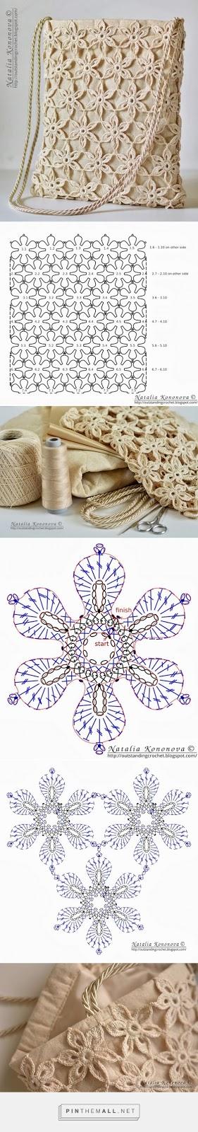 bolso tejido a crochet con motivos florales