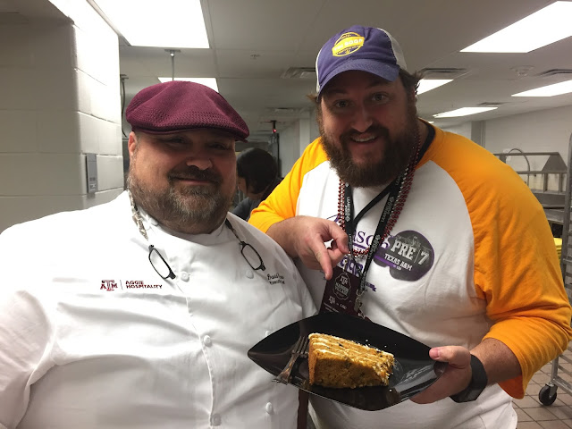 Chef Picou and Jay Ducote in the Kitchen at Kyle Field with Carrot Cake