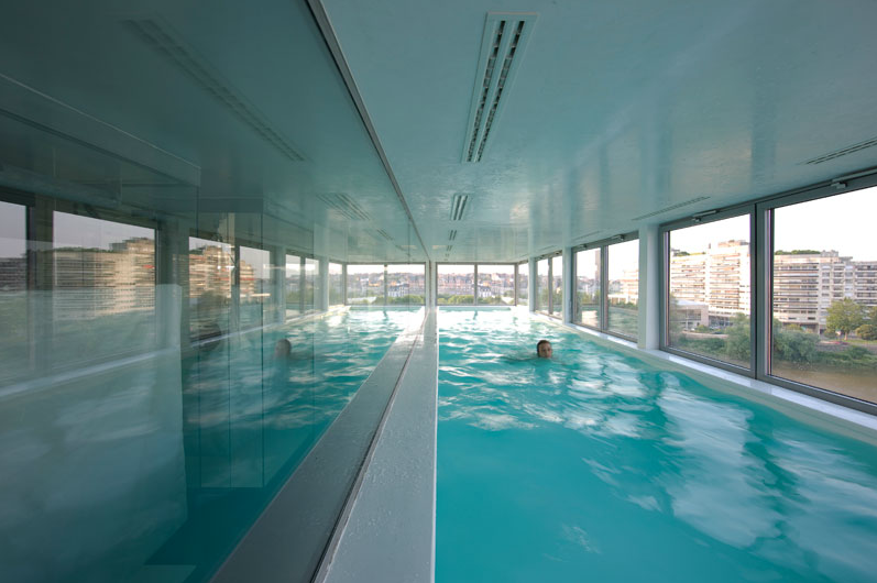 Modern Indoor Pool And Game Room