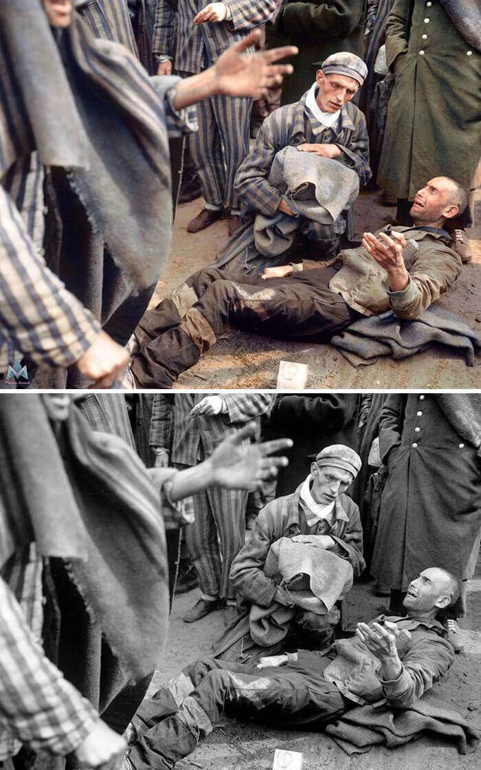 Digital Artist Colorizes The Last Heartbreaking Pictures Of A 14-Year-Old Polish Girl In Auschwitz - Inmates At Wobbelin Concentration Camp