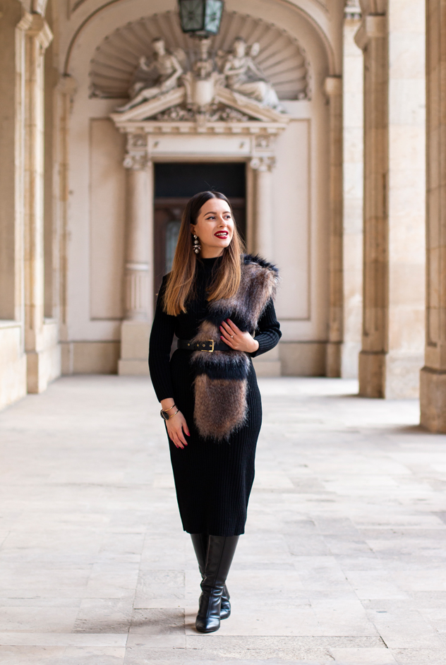 adina nanes black knitted dress