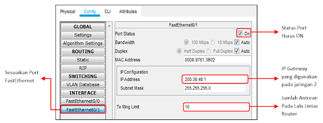Setting IP address dan default gateway jaringan 2
