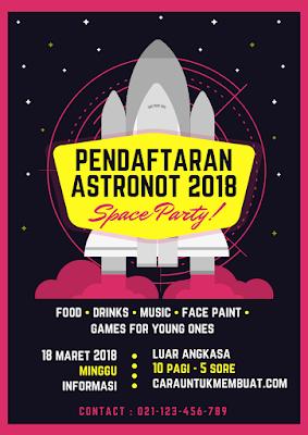 Contoh Desain Flyer Pendaftaran Astronot 2018