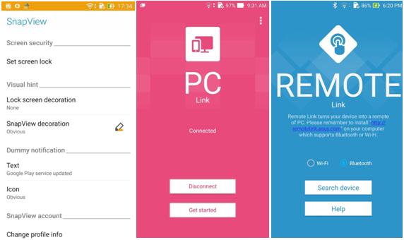 Tampilan SnapView, PC Link, dan Remote Link