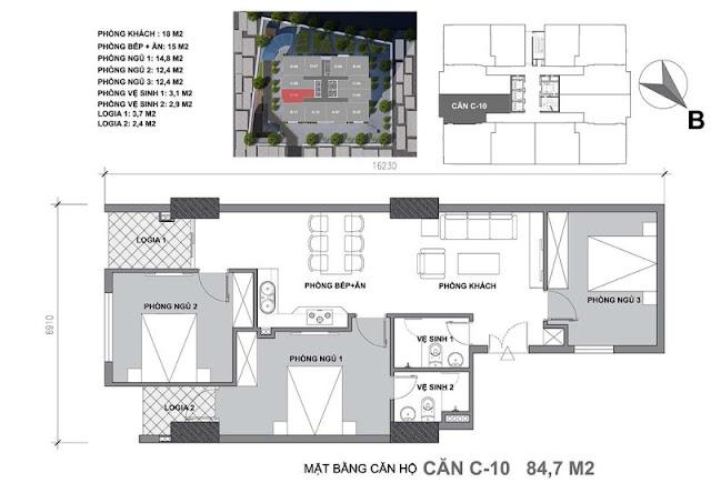 Thiết kế căn hộ C Start Up Tower