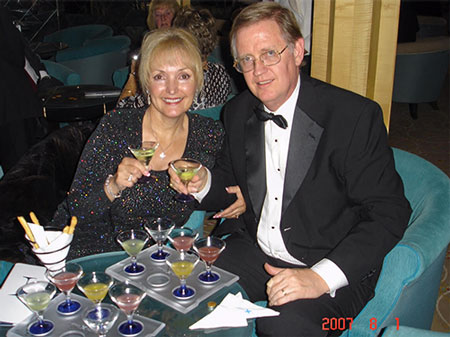Resident Astronomers enjoying martini flight on Baltic cruise  August 1, 2007  (Source: Palmia Observatory)