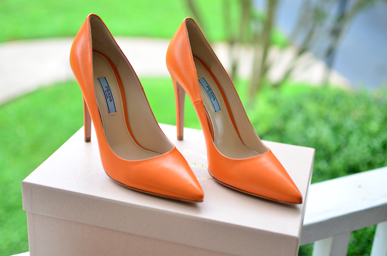 PRADA ORANGE PUMPS