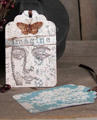 Imagine Face Hang Tag Altered Art