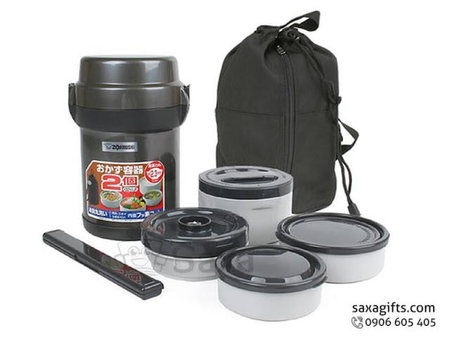 Bộ hộp đựng cơm in logo nhập khẩu có túi xách – BGD003