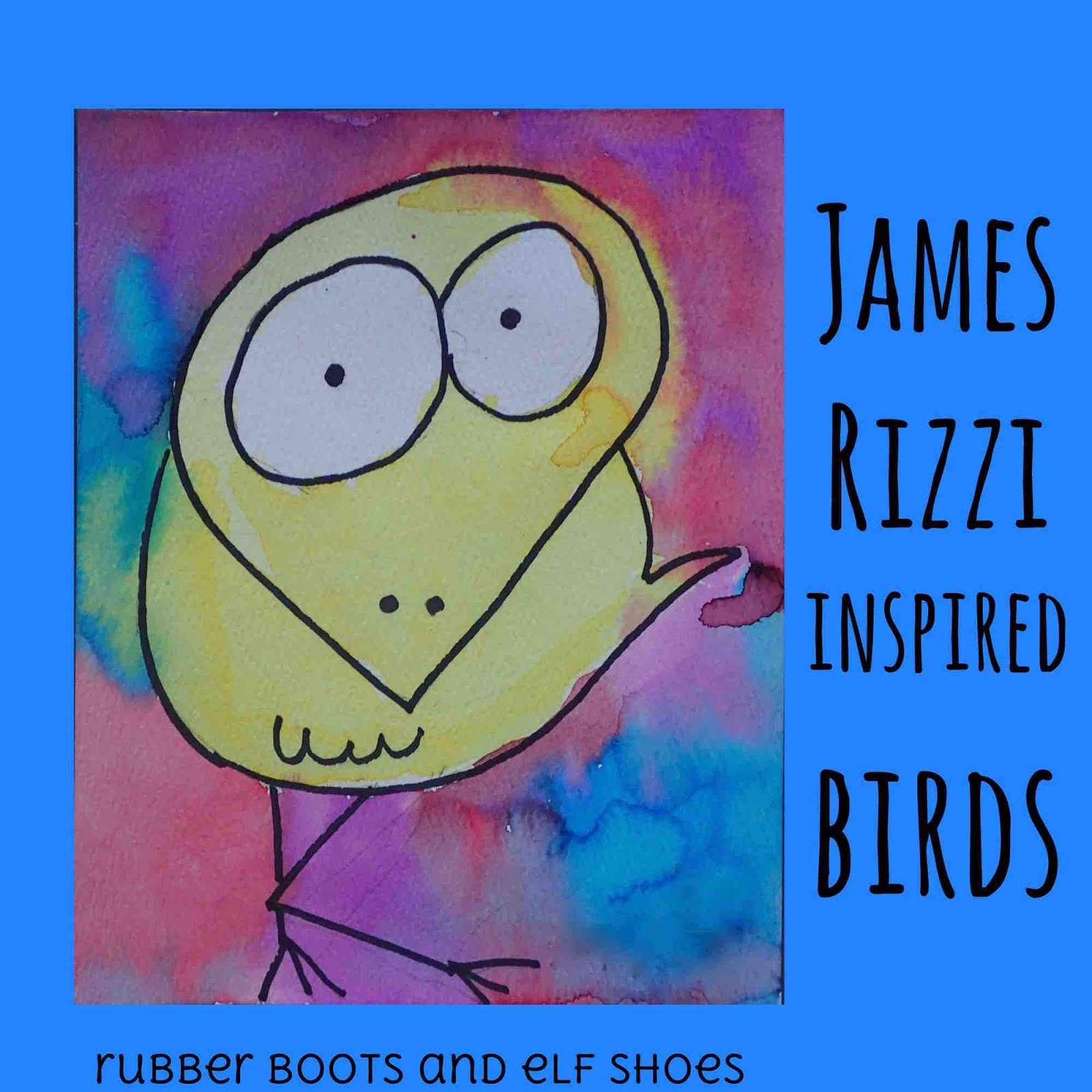Painting James Rizzi Birds Rubber Boots And Elf Shoes