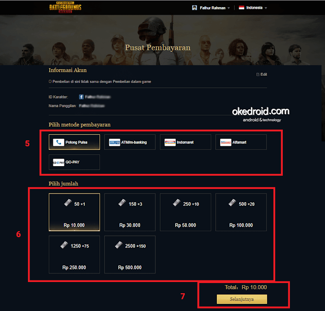 link halaman web pusat pembayaran top up isi cash ulang unknown cash game pubg mobile android pilih metode pembayaran potong via dengan pulsa