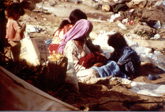 Woman and children in Turkish refugee camp at the end of the first Gulf War. Photo: Brian Kelly