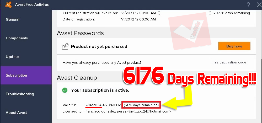 avast cleanup activation code 2017