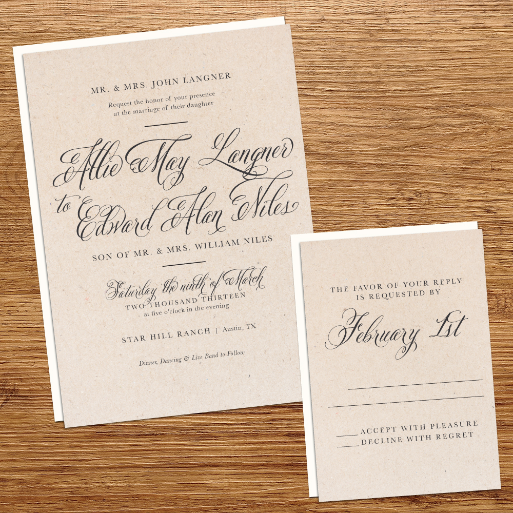 Where To Buy Wedding Invitation Paper: Kxo Design: RUSTIC KRAFT PAPER WEDDING INVITATION