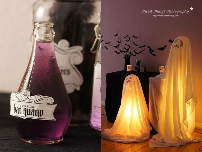 halloween deko ideen diy leuchtende geister und fledermaus zweige nicest things. Black Bedroom Furniture Sets. Home Design Ideas