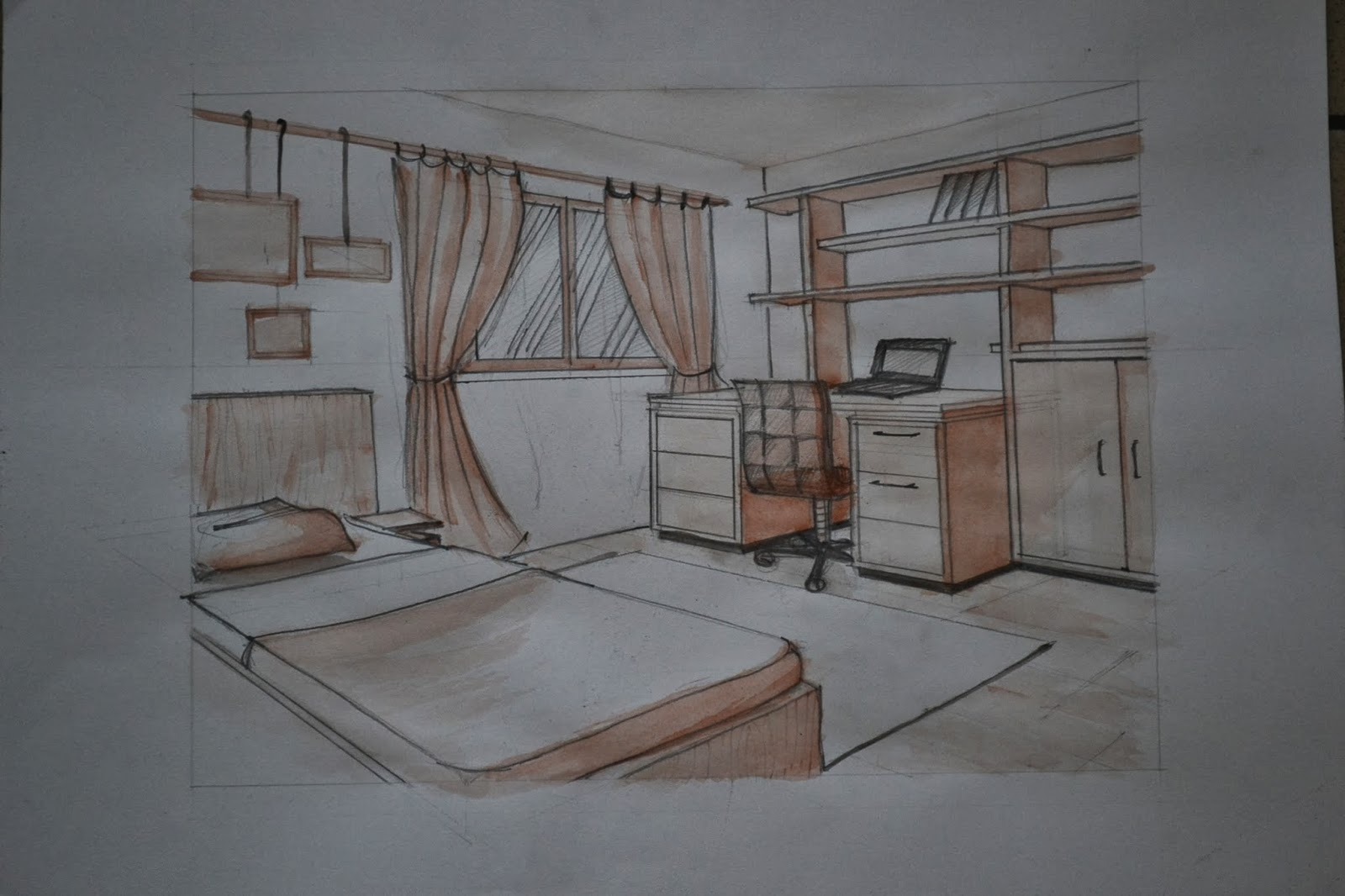 . 1112911736  Interior two point perspective of a simple bedroom
