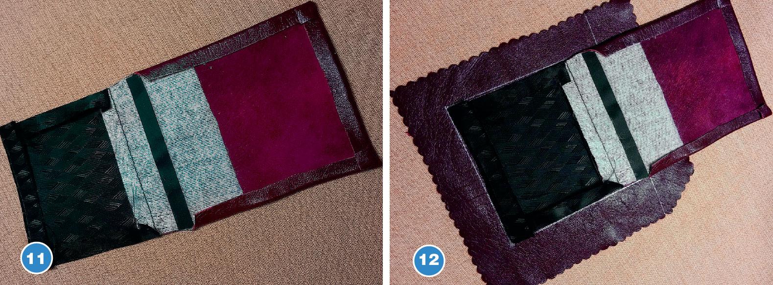 Обработка накладных карманов из кожи