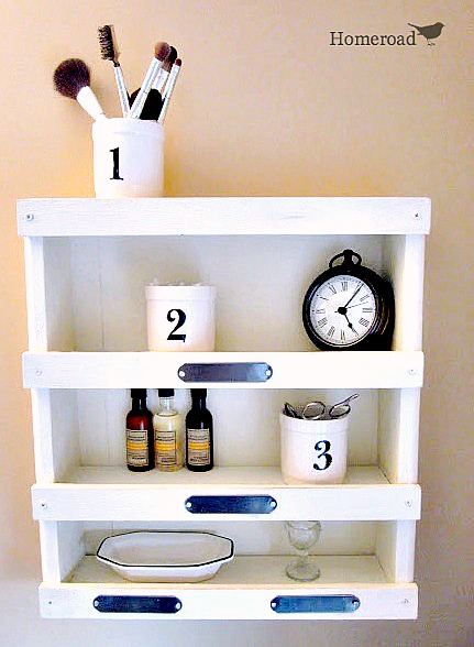 How to make a DIY wall shelf for the master bathroom. Homeroad.net
