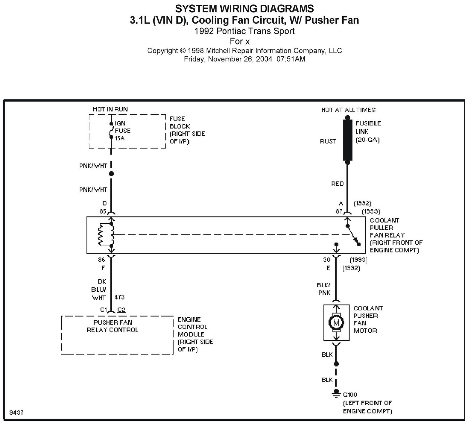 1992 pontiac trans sport cooling fan circuits system wiring diagrams [ 1600 x 1453 Pixel ]