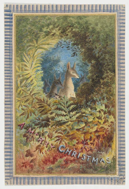 """Christmas Card design depicting a two two kangaroos in the bush with the words """"A Merry Christmas""""."""
