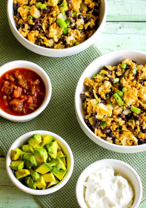 Slow Cooker Spicy Brown Rice and Black Bean Cheesy Bowl found on KalynsKitchen.com