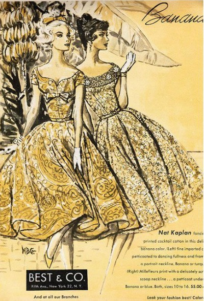 Illustration for Nat Kaplan Flower Print Garden Party Dress Vogue 1958
