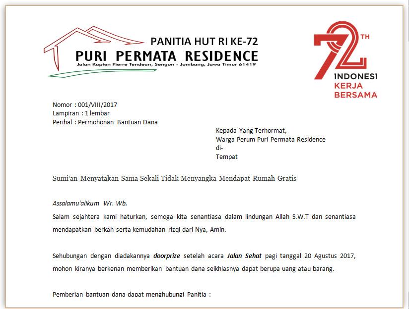 Surat Permohonan Bantuan Dana Puri Permata Residence