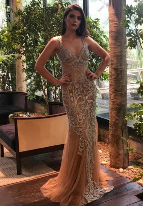 vestido longo nude bordado