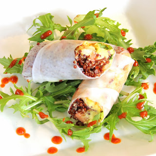 Red Quinoa, Tomato and Avocado Salad Vietnamese Rolls with Sriracha sauce