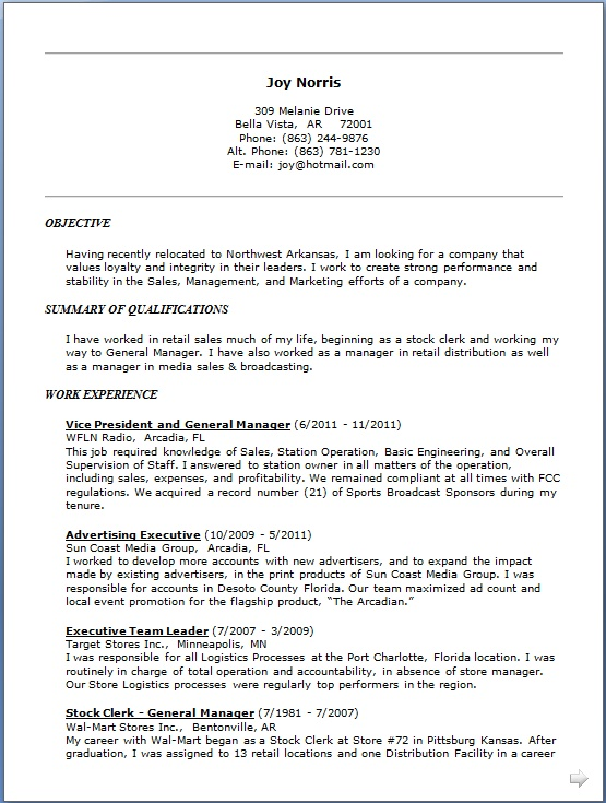 vice president and general manager resume format in word