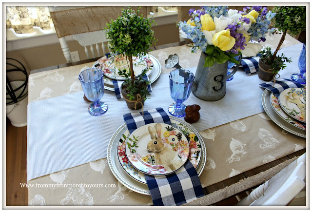Spring-Easter-Tablescape-Cottage-Farmhouse-Pottery Barn- Flora-Dinnerware-Pioneer Woman-Buffalo Check-Blue and White-From My Front Porch To Yours