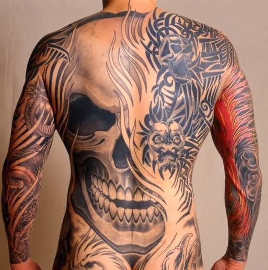 Tribal with Skulls, amazing tattoo for men!